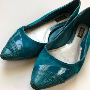 White House Black Market Teal Suede Flats